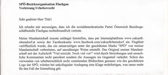 Brief vom SPÖ-Anwalt
