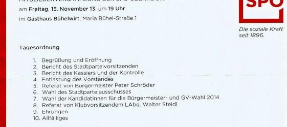 SPÖ Oberndorf Mitgliederversammlung