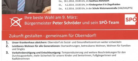 Stadtteilgespräche SPÖ Oberndorf Wahl 2014