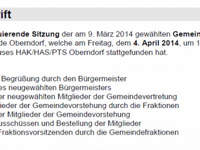 Niederschrift konstituierende Sitzung 04.04.2014