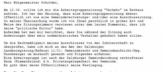 Mail DI Hans Weiner an Bürgermeister Schröder