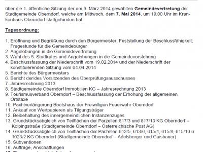 Niederschrift Gemeindevertretung 07.05.2014