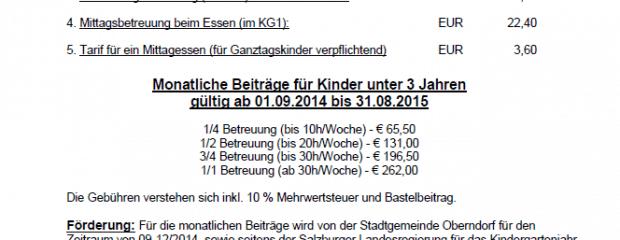 Kindergartenbeiträge 2014 2015 Stadtgemeinde Oberndorf