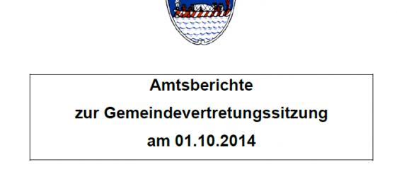 Amtsberichte GV-Sitzung am 01.10.2014