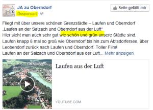 Gesponserte JA zu Oberndorf Meldung - SPÖ Oberndorf - schön grün
