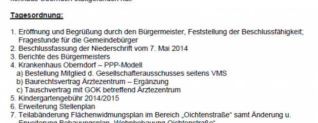 Niederschrift Gemeindevertretung Oberndorf 02.07.2014