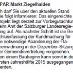 Spar Ziegelhaiden - Begutachtung Land Salzburg