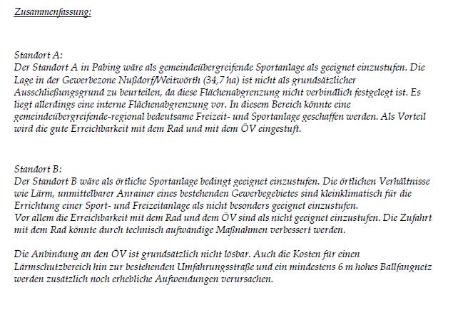 Zusammenfassung Standortvergleich von Dr. Horst Scheibl (Referat Örtliche Raumplanung)
