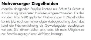 SPÖ Oberndorf - Spar Ziegelhaiden - JA zu Oberndorf-Magazin Dezember 2014